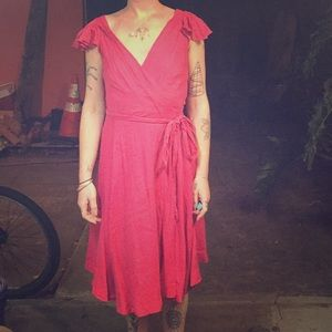 Vintage midi wrap dress in red. Plunging V